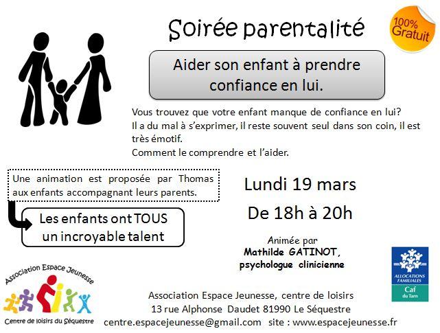16 mars-- aider son enfant à prendre confiance