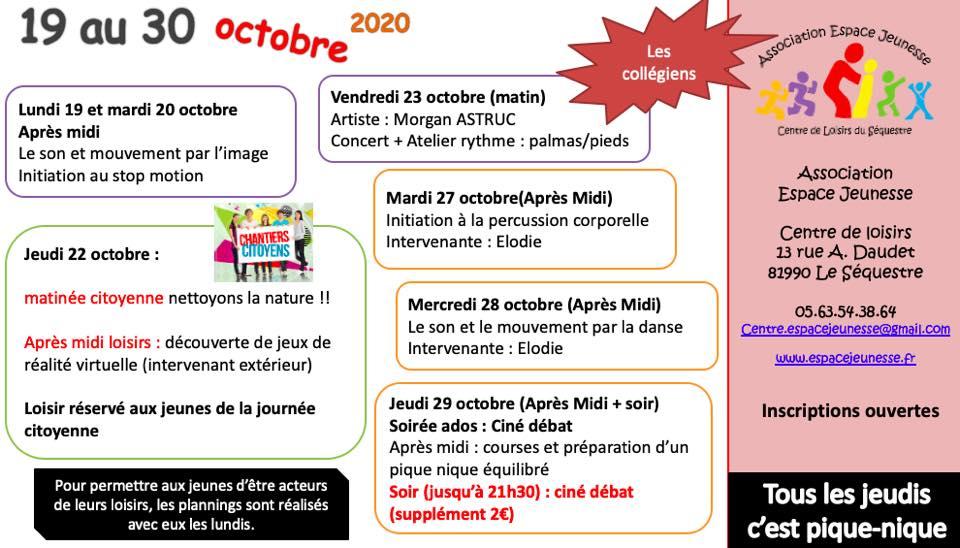 collégiens vacances octobre 2020