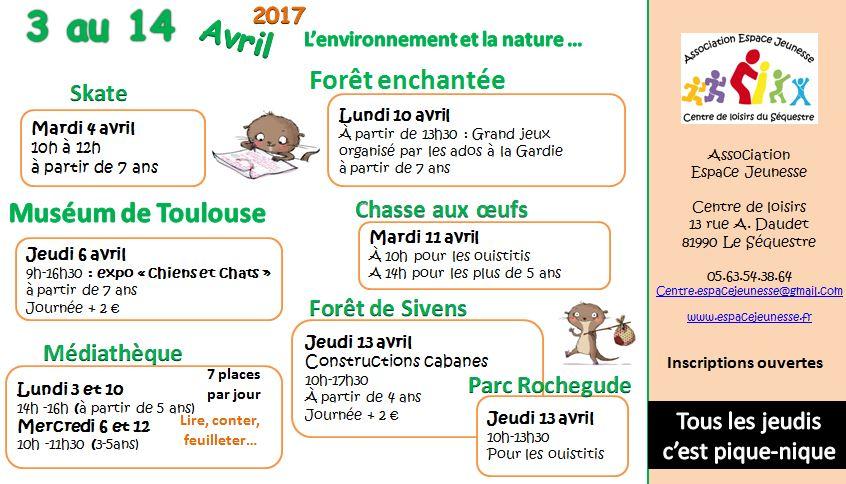 programme des vacances avril 2017