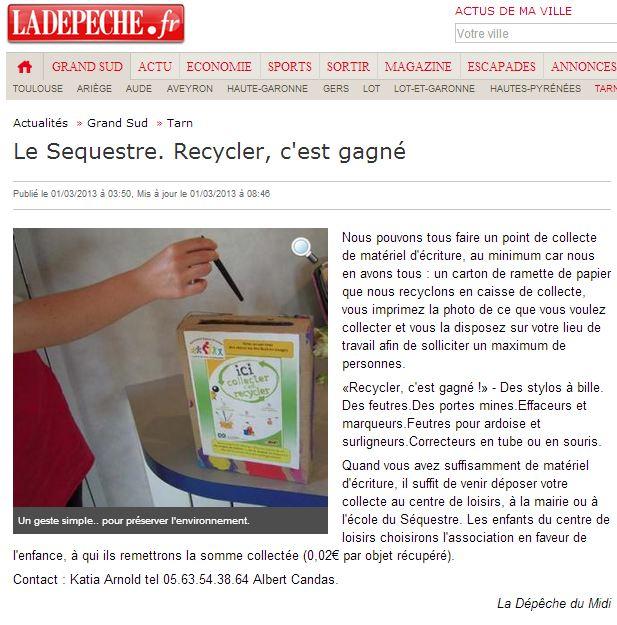 recyclé depeche mars 2013